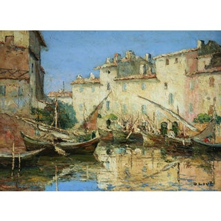 'Martigues' Oil Painting by Henri Olive (1898-1980) For Sale