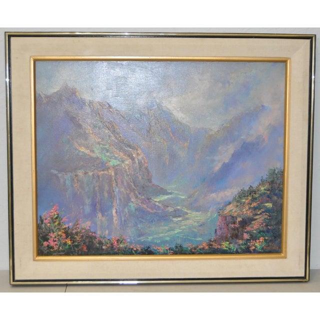 """Ed Furuike """"Waimea Canyon"""" Original Oil Painting For Sale - Image 4 of 4"""