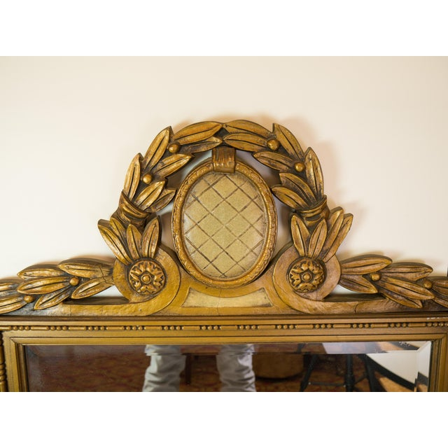 Antique Carved Wood Beveled Italian Mirror - Image 3 of 4