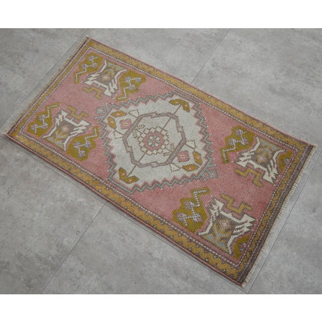 Distressed Low Pile Turkish Yastik Rug Faded Kitchen Sink Mat - 20'' X 36'' For Sale - Image 4 of 4