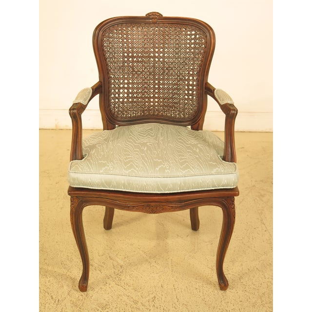 Ethan Allen French Louis Xv Style Cane Back Open Arm