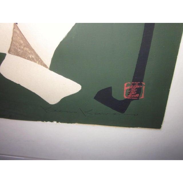 "Japanese 1950s Vintage Kaoru Kawano ""Conversation"" Signed Japanese Woodblock Print For Sale - Image 3 of 7"