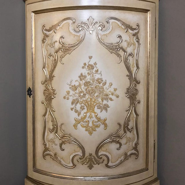 Paint Antique Italian Baroque Painted Corner Cabinet For Sale - Image 7 of 12