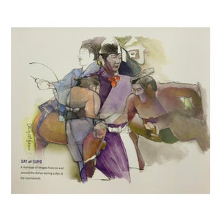 Japanese Calendar Prints 2005 Vintage Sumo 12 Prints Lynn Matsuoka Color Drawings Watercolors For Sale