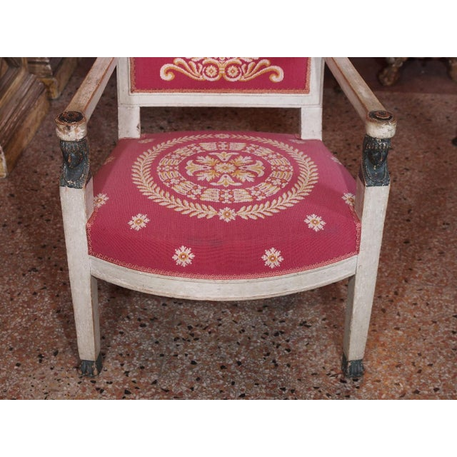 Fabric Early 19th Century French Consulate Fauteuils - Pair For Sale - Image 7 of 8