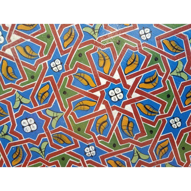 Islamic Moroccan Ceuta Painted and Carved Moroccan Star Table For Sale - Image 3 of 6