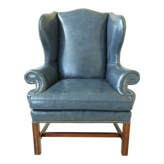 Century Chippendale Style Blue Leather Wing Back Chair For Sale