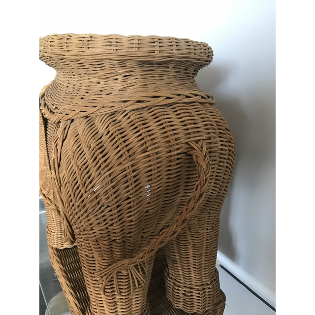 1980s Boho Chic Woven Rattan Elephant Side Table For Sale - Image 4 of 6