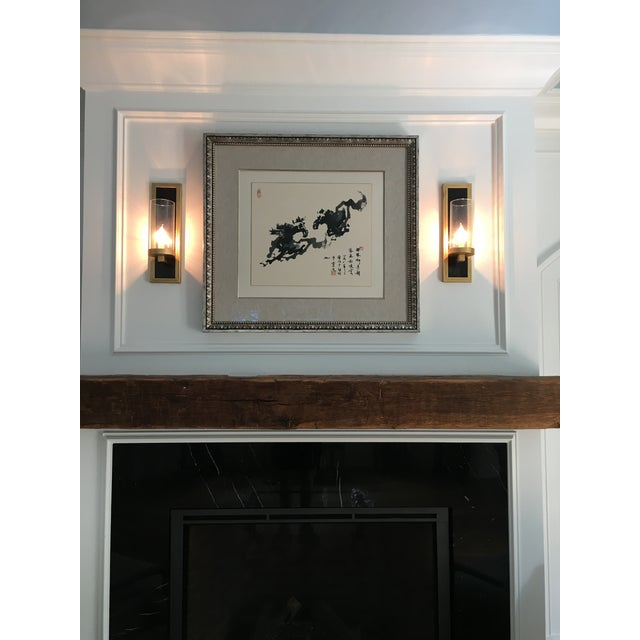 Currey & Company Currey and Company Contemporary Gold Leaf / Black Wall Sconces - A Pair For Sale - Image 4 of 6