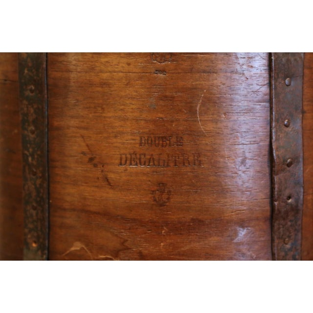 19th Century French Walnut and Iron Grain Measure Bucket or Waste Basket For Sale - Image 9 of 10