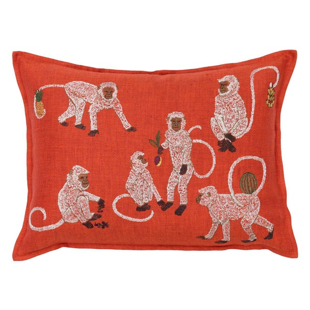 Boho Chic Boho Chic Monkey Business Vermilion Pillow For Sale - Image 3 of 3