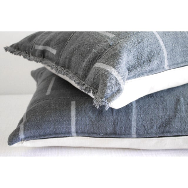 Early 21st Century Vintage Mud Cloth Standard Sham Pillows in Gray Blue - a Pair For Sale - Image 5 of 7