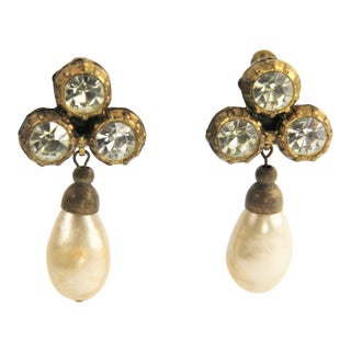 1984 Vintage Chanel Mabe Glass Pearl Rhinestone Dangle Earrings, Signed For Sale