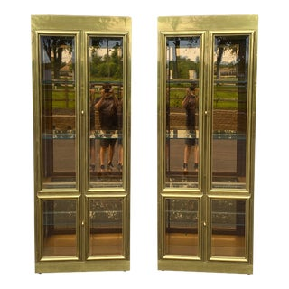Mastercraft Brass & Glass Vitrine Cabinets - a Pair For Sale