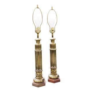 Steampunk Pierced Brass Column Oil Conversion Lamps W/Mesh, Keys, Chain, Cap - a Pair For Sale