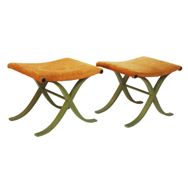 Pair of X-Form Stools by Plycraft, Inc. For Sale