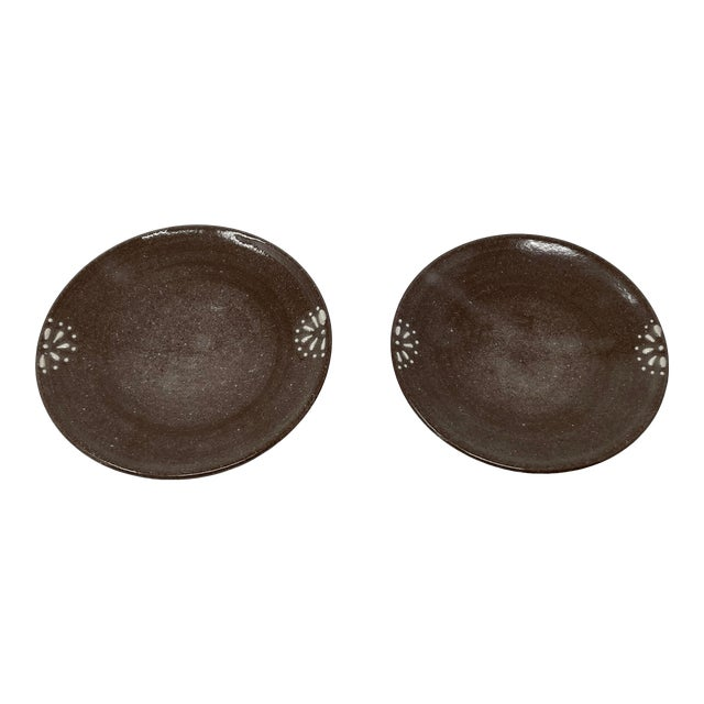 Hand Made Earthenware Lizella Clay Accent Soap Dish Small Accent Plates - a Pair For Sale