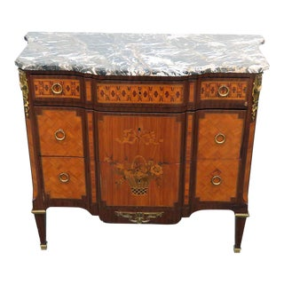 Louis XIV Style Inlaid Marble Top Commode For Sale