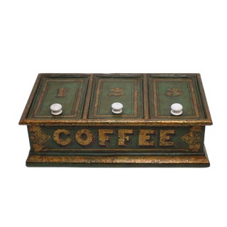 Antique Tole Painted Coffee Bin Store Display Dispenser, England 19th Century For Sale