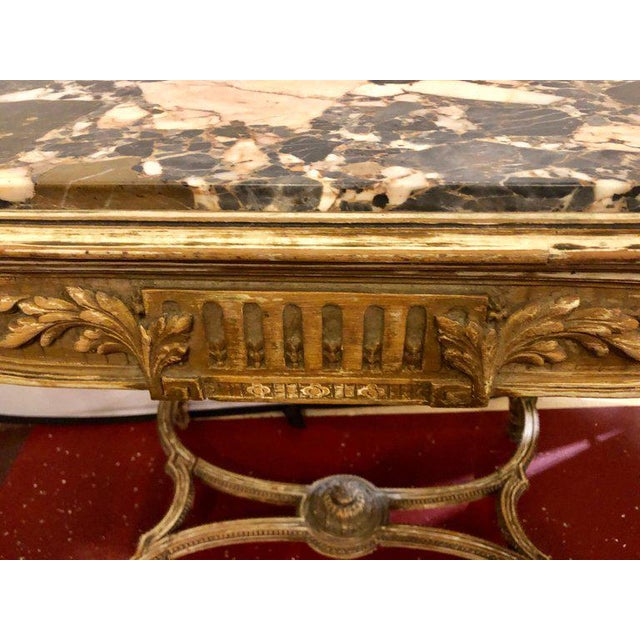 Metal Louis XVI Style Distressed Paint Decorated 19th Century Marble Top Center Table For Sale - Image 7 of 12