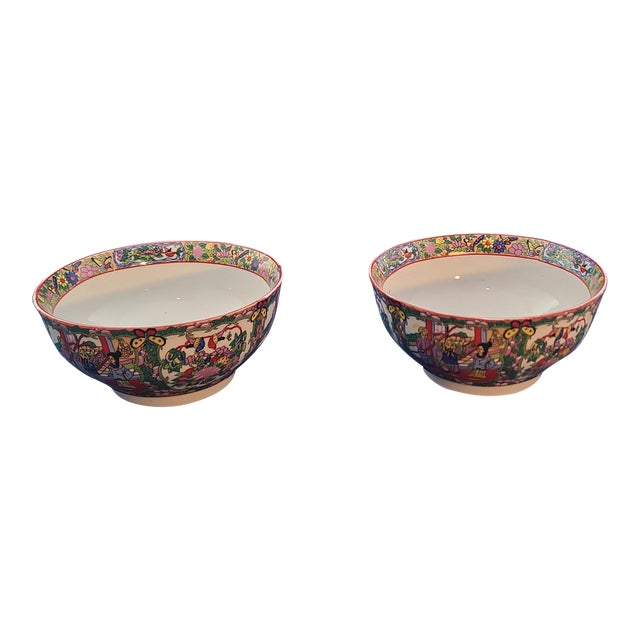 "Pair Chinese Porcelain Hand Decorated Behesti Super 6"" Bowls For Sale"
