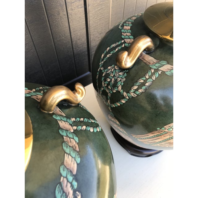 Vintage Hand Painted Tassel and Rope Lamps-A Pair For Sale - Image 11 of 13