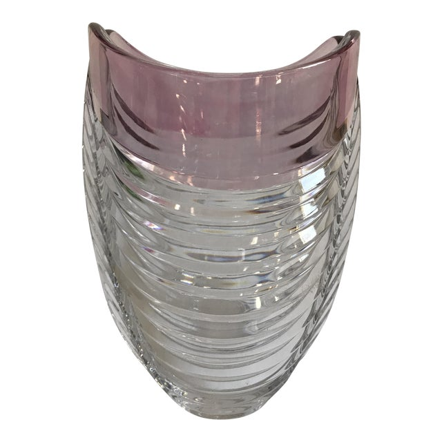 Contemporary Ribbed Pink Rim Glass Vase - Image 1 of 7