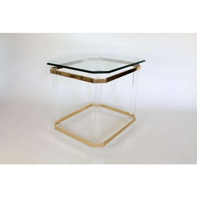 Lucite & Brass Side Table For Sale - Image 10 of 11