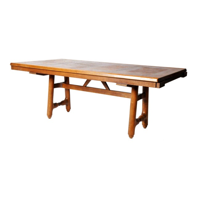 Mid-Century Modern Extension Dining Table Attributed to Guillerme Et Chambron For Sale