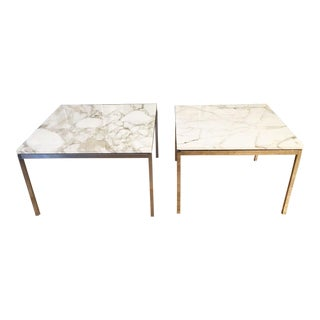 Vintage Mid-Century Modern Marble Top Side in the Style of Knoll - a Pair
