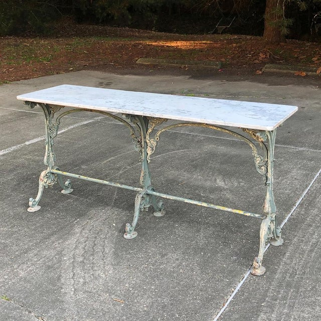 19th Century Cast Iron Marble Top Sofa Table ~ Confectioner's Table is the perfect accompaniment to any room, with a...