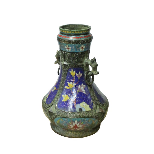 Chinese Metal Blue Enamel Cloisonne Flowers Theme Vase Display For Sale In San Francisco - Image 6 of 7