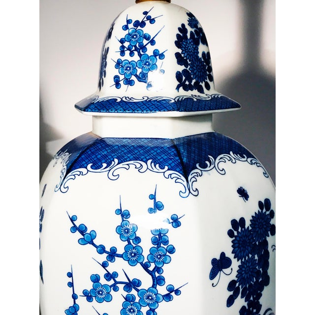 Frederick Cooper Frederick Cooper Blue and White Ginger Jar Table Lamps - Pair For Sale - Image 4 of 10