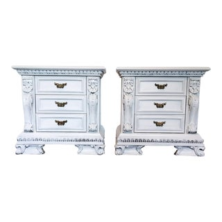 1970s Italian Painted White Night Stands - a Pair