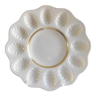 Vintage 1980's Lenox Cream Porcelain Deviled Egg Platter W/24k Gold Trim For Sale