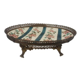 19th Century French Bronze & Porcelain Center Piece Tray For Sale