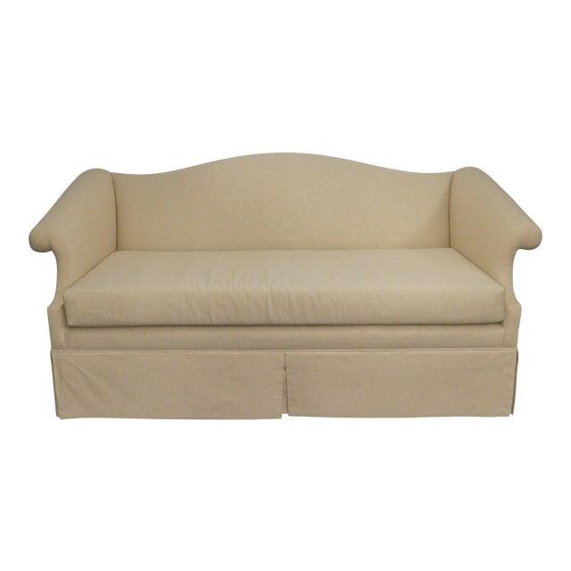 Vintage Linen Upholstered Loveseat For Sale