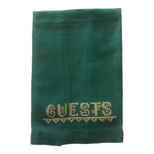 Vintage Green and Yellow Embroidered Guest Linen Towel For Sale