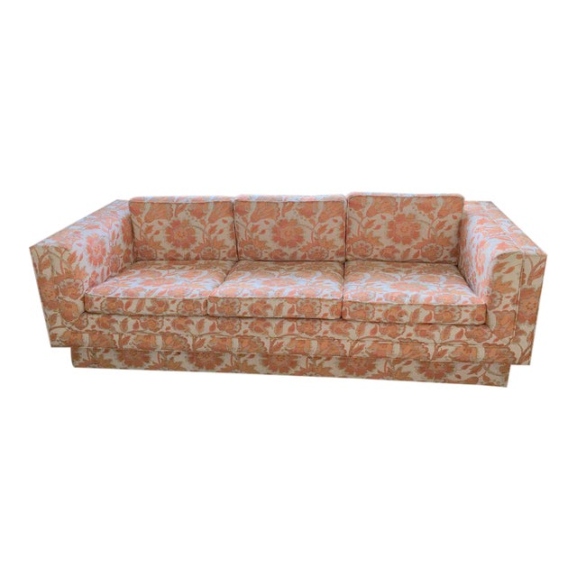 Mid Century Modern Milo Baughman Style Orange Indian Print Upholstery Plinth Base Sofa For Sale
