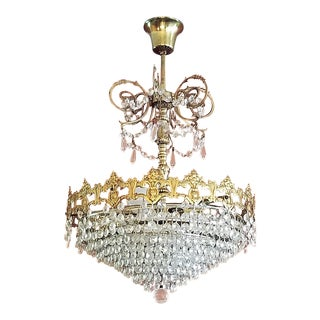 19c French Crystal Ormolu Chandelier
