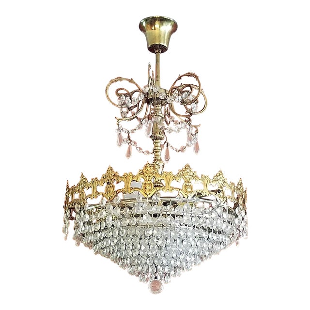 19c French Crystal Ormolu Chandelier For Sale
