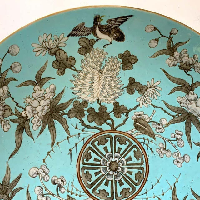 19th Century Chinese Export Powder Blue Ho Ho Bird Motif Charger For Sale In West Palm - Image 6 of 12