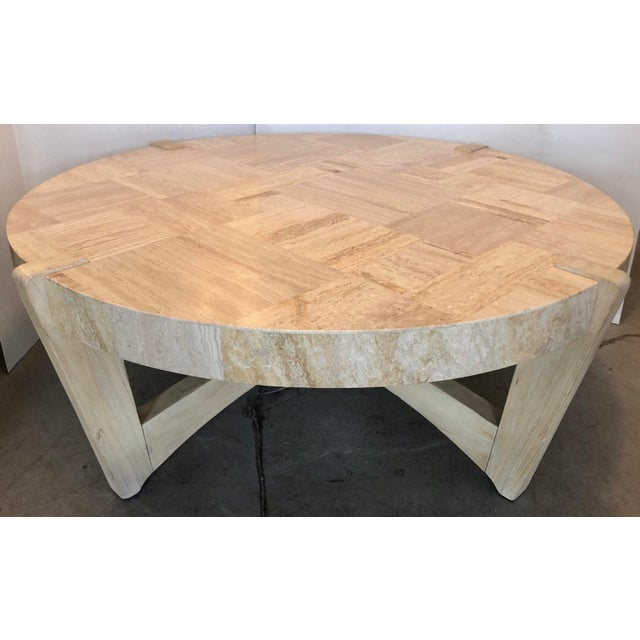 Travertine & Wood Coffee Table For Sale In Miami - Image 6 of 6