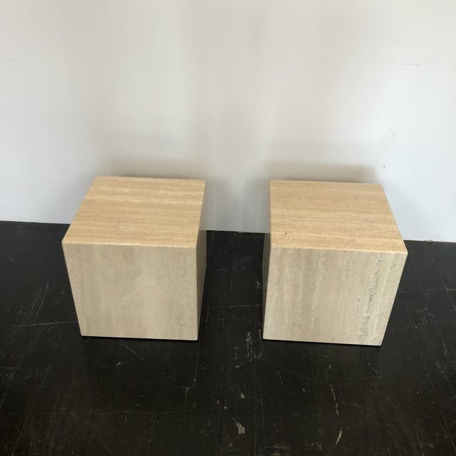 Italian Marble Cube Side Tables - a Pair For Sale In San Antonio - Image 6 of 8