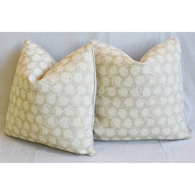 """Italian Embroidered Silk & Leather Feather/Down Pillows 21"""" Square - Pair For Sale - Image 11 of 13"""
