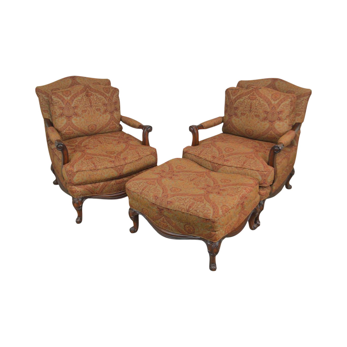 Henredon French Louis XV Style Pair Wide Seat Lounge Chairs With Ottoman