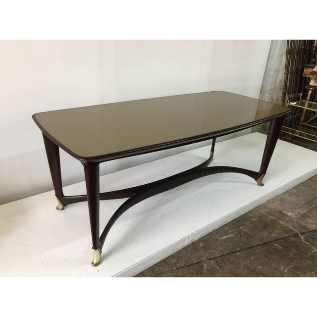 Paolo Buffa Reverse Painted Top and Walnut Italian Dining Table - Image 3 of 8