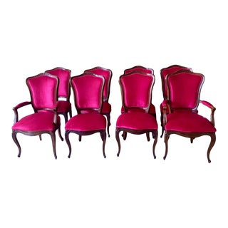 Gorgeous Set of 8 Henredon Dining Chairs Is Fuchsia Velvet Upholstery For Sale