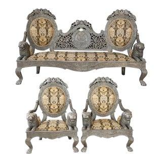 Historical Sultan of Zanzibar Silver Parlor Room Set - 3 Pieces For Sale