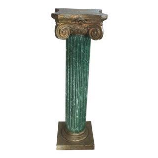Faux Malachite Marble Pedestal Column
